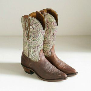 Leather Shiny Paisley Print Cowboy Boots | Vintage